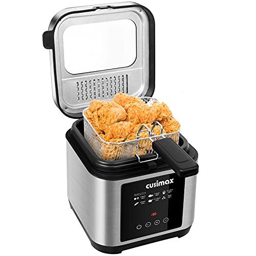 CUSIMAX 2.5L Deep Fat Fryer, 1200W Touchscreen Compact Deep Fryer with...