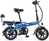 Fangfang Bicicletta Elettrica, Bicicletta elettrica Pieghevole Litio Batteria for Auto for Adulti Tandem Bicicletta elettrica Auto-Guida da asporto 48V 350W,Bicicletta (Color : Blue, Size : 20A)