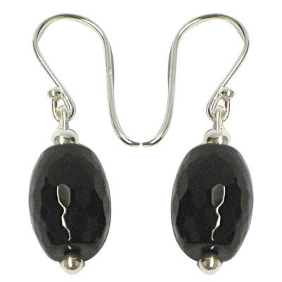 Chic-Net Pendientes Negro Onyx-en forma de aceituna 925-correa 3cm de largo de...