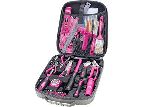 EXTOL Lady 68-tlg Werkzeug-Set in pink mit Tasche; durchdachte, rosa Werkzeuge in hochwertigen CrV-Stahl für Frauen; für Haus und Garten, tolles Geschenk für Geburtstag oder Weihnachten
