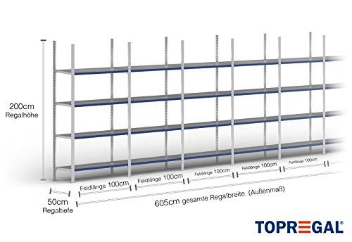 6m plankenrek 200/250/300 cm hoog, 50 cm diep met 3-8 niveaus inclusief stalen planken, belastbaar tot 100 kg 6m × 200cm × 50cm (B×H×T), Ebenen: 4