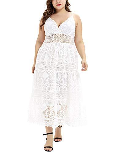 FeelinGirl Damen Cocktailkleider Sommerkleider Abendkleider Elegant Plus Size V Ausschnitt Maxi