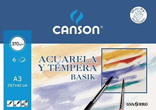 Papel Acuarela Basik Canson Din A3 370 Gr Pack De 6 Hojas ⭐
