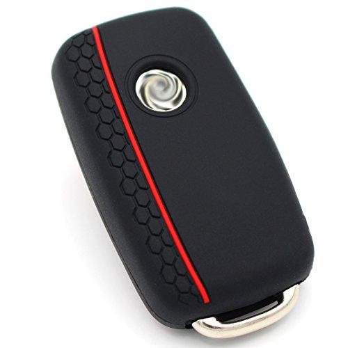 Schlüssel Hülle VA Wabenmuster für 3 Tasten Auto Schlüssel Silikon Cover von Finest-Folia (Schwarz)