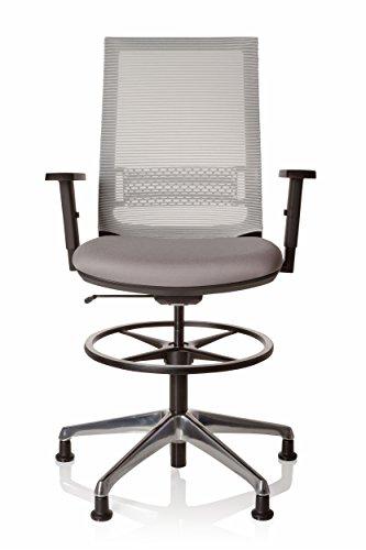 hjh OFFICE 721943 Arbeitsstuhl hoch TOP Work 99 Stoff Grau ergonomischer Counterstuhl mit Gleiter