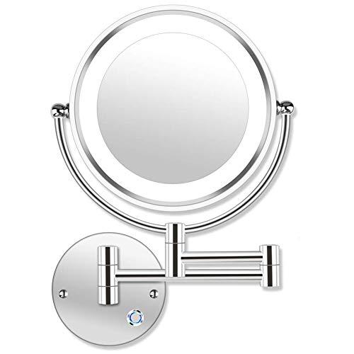 MRJ 8.5inch Kosmetikspiegel 10-Fach mit Beleuchtung LED Wandmontage Touchscreen Dimmbarer aus Kristallglas, Edelstahl und Messing für Badezimmer, Kosmetikstudio, Spa und Hotel EU Plug