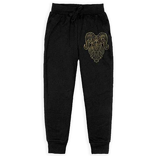 Just life Golden Aries Pantalones de chándal de Jogging para niños Pantalones de chándal elásticos Negros