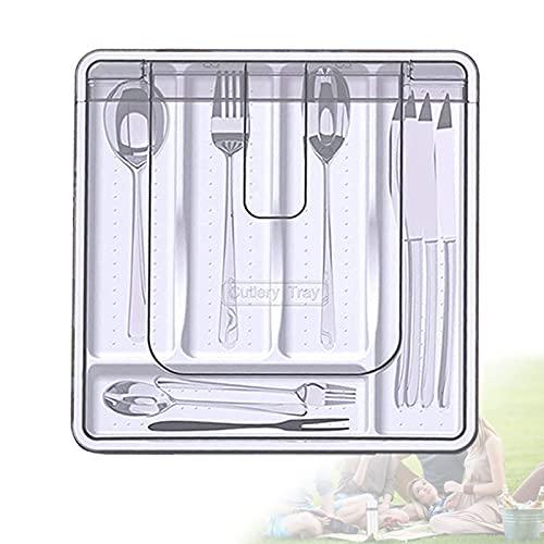 EFGS Modular Organizador Cubertero, Antideslizante Separador Cubiertos con Cubierta Antipolvo y 5 Compartimentos, Cubertero Cajon para Utensilios de Cocina y Cubiertos