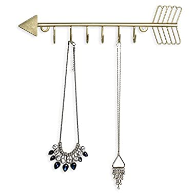 Arrow Design Wall Mounted Brass-Tone Metal 6 Hook Necklace Organizer Hanging Rack