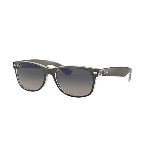 3cb83de2bb Ray-Ban RB2132 New Wayfarer Gradient Unisex Sunglasses (Brushed Gunmetal  onTransparent Frame Grey