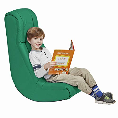 Factory Direct Partners - 10488-GN -10488 Soft Floor Rocker - Cushioned Ground Chair for Kids Teens and Adults - Great for Reading, Gaming, Meditating, TV - Green