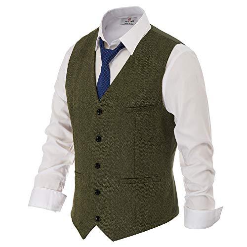 Herren Westernweste Fischgrätenmuster Tweed Anzugweste Wollmischung Slim Fit Weste - Grün - X-Large