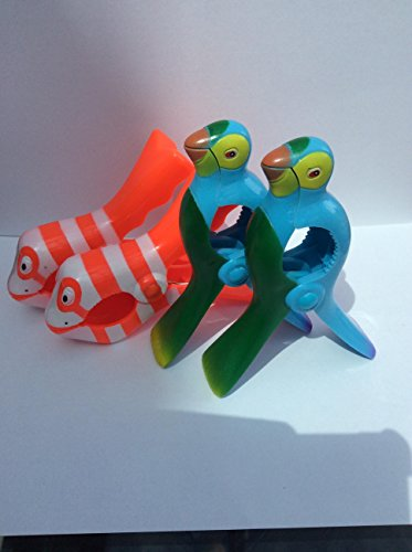 Deux Paires de Boca Style Chaise Longue balancelle Plage Serviette Clips, Parrot et Poisson Clown