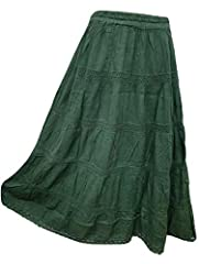 Doorwaytofashion Plus Size Cotton and Lace Lined Summer Skirt Embroidered UK One Size 16 18 20 22 24 (Bottle Green) #3