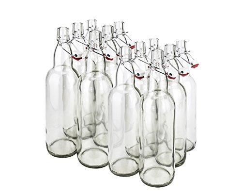 Prosafe CASE OF 12-32 oz. EZ Cap Beer Bottles - CLEAR - VINTAGE STYLE - HOME BREWING