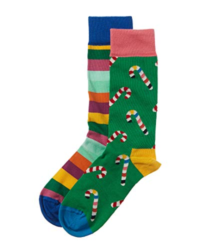 Happy Socks Christmas Cracker Candy Cane Gift Box Green/Red Men's Shoe Size 8-12
