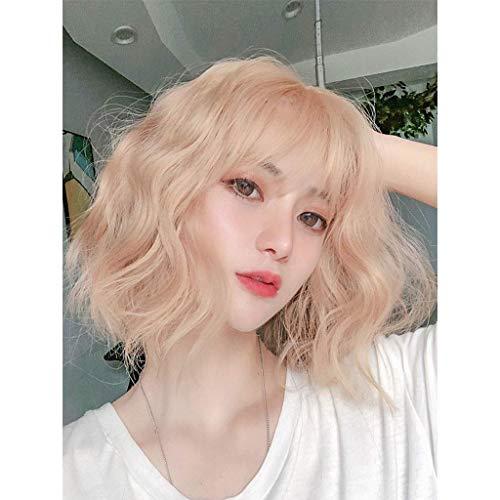 ZHAS Peluca Corn Hot Short Curly Light Bangs Natural Fashion Face RPair Full TP Hair Set Mujer, Juego de Roles