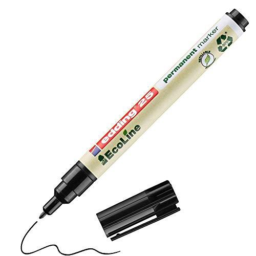 edding 25 EcoLine marqueur permanent - noir - 1 stylo - pointe ronde fine 1 mm - sèche vite - résiste à l'eau et à l'essuyage - pour carton, plastique, bois, métal - marqueur universel