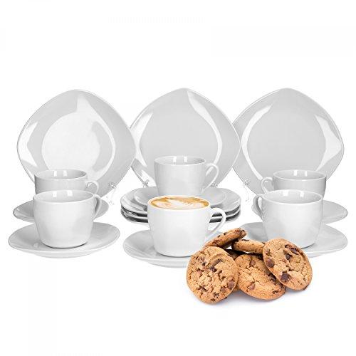 Van Well Kaffeeservice Lilli, 18-TLG. für 6 Pers, Kuchenteller + Kaffeetasse + Unterteller, edles Markenporzellan, glänzend, Geschirrset, klassisch weiß, quadratisch