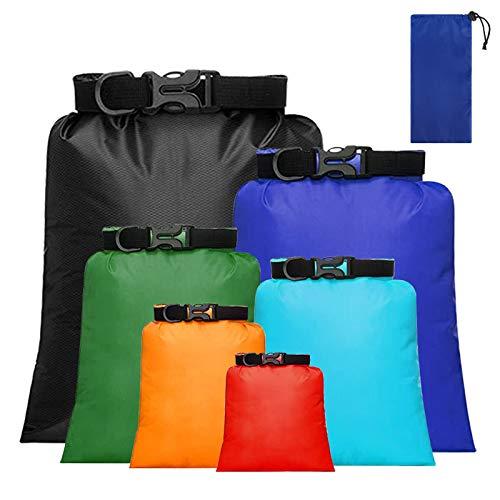 Bolsa Estanca Ultra Ligero Bolsa Seco Impermeables Ajustable con Correa para Kayak Senderismo Viaje Surf Acampar Paseo Nadar 6 Piezas