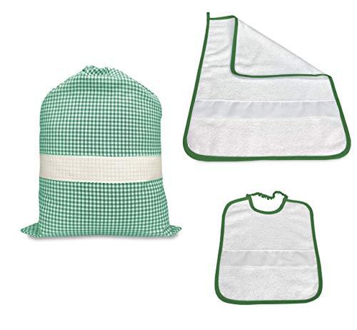 Juego para guardería de tres piezas, saco y toalla y babero a cuadros teñidos de hilo con tela Aida para bordar el nombre – Verde
