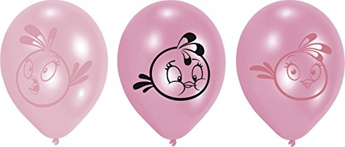 Pink Bird - Angry Birdy Partyballons im 6er Pack, in Pink und Rosa, bedruckt, ca. 28cm