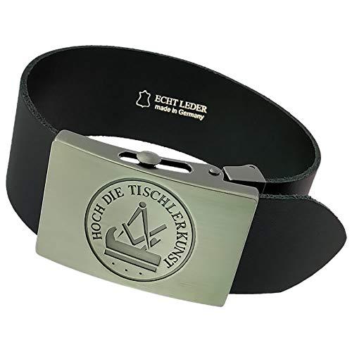 Gravurmanufaktur Hosengürtel Tischler Handwerk und Zunftzeichen - Ledergürtel 4cm breit schwarz - Einheitsgröße - kürzbar
