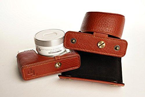 ニコン Nikon 1 J4用本革レンズカバー付カメラケース ブラック、ブラウン (レンズカバー付ケース, ブラウン)