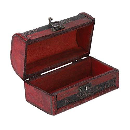 Caixa de armazenamento de jóias quadrada vintage Vitrina decorativa de madeira artesanal