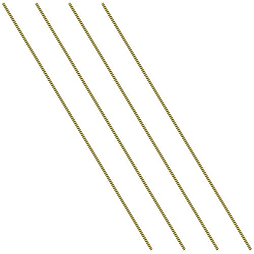 1/8 Inch Brass Round Rod, Favordrory 4PCS Brass Round Rods Lathe Bar Stock, 1/8 Inch in Diameter 14 Inches in Length