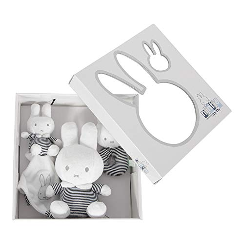 Tiamo NIJN579 Miffy Hase ABC Geschenkset Rassel, Schmusetuch und Plüschtier gestreift weiß grau