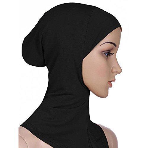 Yuhemii donna musulmana completo per interno Hijab tappi Underscarf islamico collo testa cofano cappelli, Nero , taglia unica