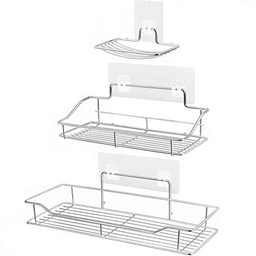 Shower Caddy Bascket with Soap Dish Holder Bathroom Storage Organizer SUS304 Stainless Steel Wall Mounted Bathroom Shelf with Adhesive Storage Organizer for Toilet Dorm and Kitchen Silver