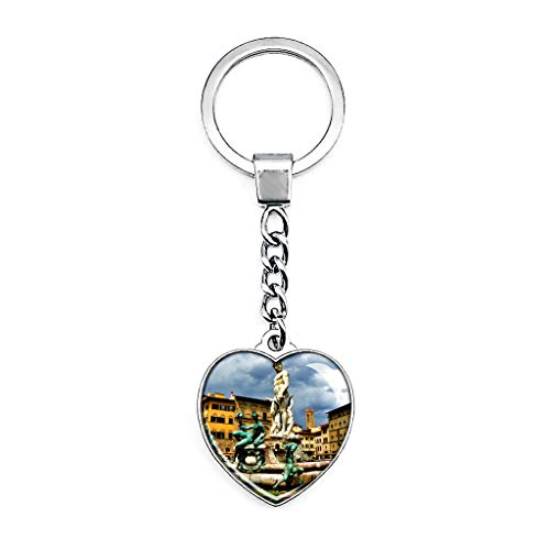 Hqiyaols Keychain Italien Piazza Della Signoria Brunnen Florenz Schlüsselkette Kreative Doppelseitige Herz-Kristall-Schlüsselkette Tourist Souvenir Metal