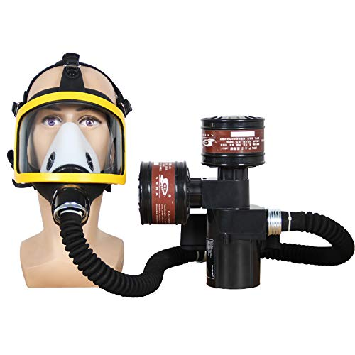 Portable Electric PAPR Respirator System, Air Respirator for Painting, Powered Air Purifying Respirator, Dust and Industry Use, Supplied Air Respirator, Large Air Volume, Two Filters
