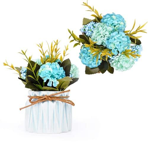 Melodip - Ramo de hortensia artificial con pequeño jarrón de cerámica de imitación de seda, variedad de bolas de flores para decoración de mesa, casa, fiesta, oficina, boda (azul)