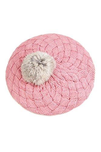 TOOGOO Mignon Bebe Hiver Chaud Bambin Enfant Tricot Crochet Bonnet Chapeau Enfant Fille Garcon - Rose