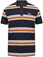 Multi-coloured horizontal striped design in different variation widths Classic ribbed collar with two button placket Lightweight cotton jersey material Branded embroidered script logo to left hand chest Metal badge towards lower hem