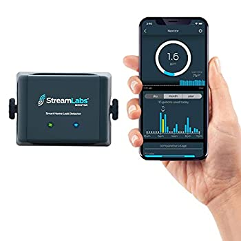 StreamLabs Smart Home Water Monitor Leak Detector with Wi-Fi – No Pipe Cutting 5-Minute Install Real-Time Phone Alerts – Fits 3/4  or 1  Pipes Compatible with Alexa and Google Assistant
