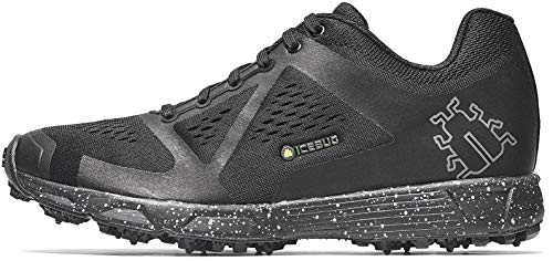 Icebug Running Shoes for Men - Studded Traction Sole for Ice and Snow: DTS4 BUGrip Mens Outdoor Training Trail Shoes, Black/Grey, 11.5