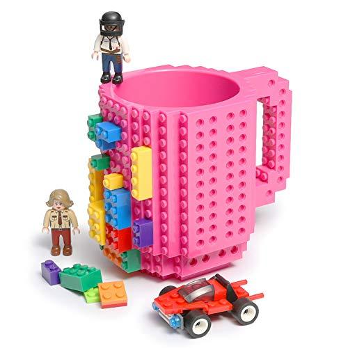 Lumsburry Build-on Bricks Tassen Becher, Kreative DIY Kaffeetasse Baustein Kaffee Tee Trinken Spaß Trinken Geschenk (Rosa rot)
