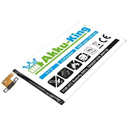 Akku-King Akku kompatibel mit HTC 35H00207-01M, BN07100 - Li-Polymer 2450mAh - für Butterfly S 901s, HTL22, M7, One 801e, 801n, 802d, 802t, 802w