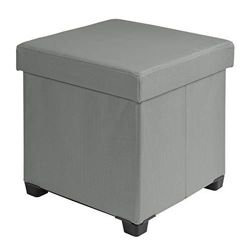 WOLTU SH53dgr Tabouret Pouf Pliable Coffre de Rangement Repose-Pieds Coffre de Jardin pour intérieur et extérieur revêtement en Tissu Respirant 37,5x37,5x38cm Gris Foncé