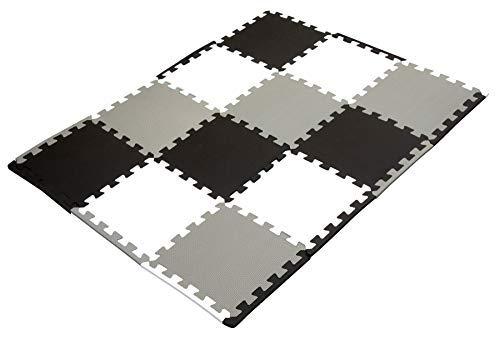 Puzzlematte Baby, Bodenschutzmatten 12 Puzzlematten mit Rand schwarz grau weiß Unterlegmatte Fitnessmatte Krabbelmatte Sportmatte Trainingsmatte Gymnastikmatte Schutzmatte Bodenmatte EVA Kunststoff