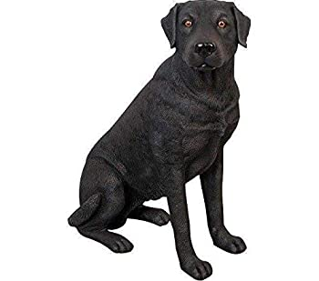 life size black labrador retriever statue sitting
