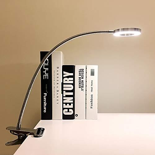 DLLT LED Klemmleuchte Bett Leselampe Kleine Dimmbar Silber Schreibtischlampe Klemmlampe Clip Tischlampe 6W Silber mit 2 Lichtfarben Kaltweiß und Warmweiß (Ohne Adapter)