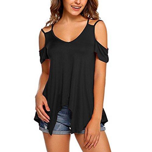 VEMOW Sommer Heißer Elegante Damen Mädchen Frauen Reine Farbe Trägerlos Plus Größe Kurzarm Casual Tägliche Weste Bluse Top Tunika Shirt(Schwarz, 44 DE / 2XL CN)