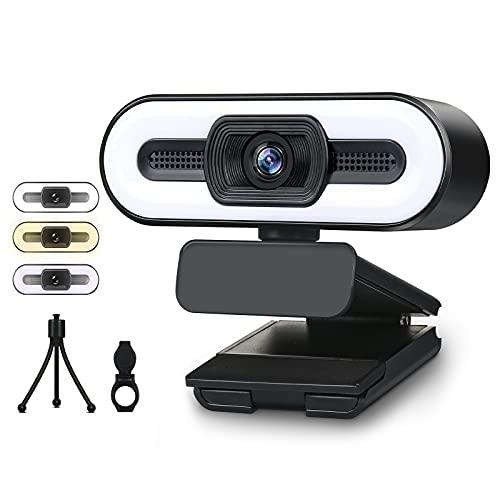 Webcam avec Microphone, Webcam USB HD 1080P avec éclairage de Remplissage 3 Couleurs pour PC/Ordinateur Portable, caméra d'ordinateur à Mise au Point Automatique pour vidéoconférence, appels vidéo