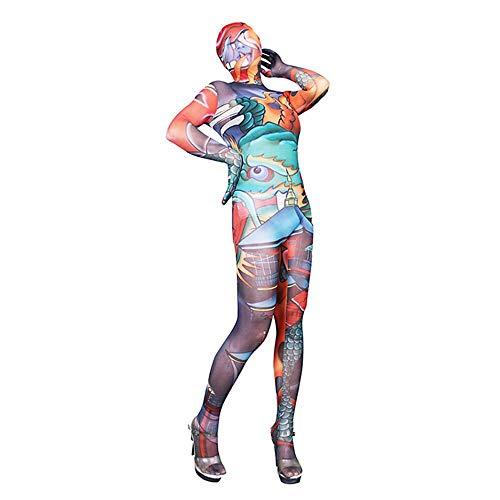 Z-DJJ Body de Disfraz de Zentai con Punta Cerrada de Cuerpo Completo Unisex para Mujer Sexy,Disfraz de Noche de Halloween de Segunda Piel de dragn len, Traje de Piel Ultrafino de Alta Elasticidad