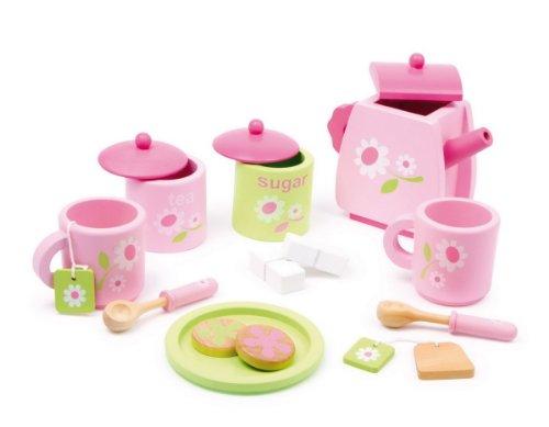 Equilibre et Aventure Service à thé en bois coloré complet avec tous les accessoires - dinette